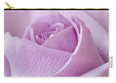 Delicate Lavender Rose Macro Carry-all Pouch by Sandra Foster