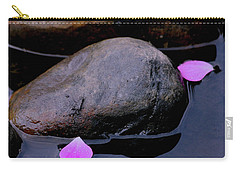 Carry-all Pouch featuring the photograph Delicate Petals With Rocks by Doris Potter