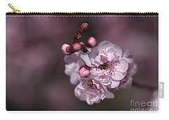 Delightful Pink Prunus Flowers Carry-all Pouch by Joy Watson