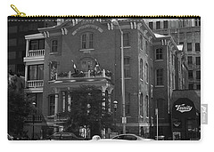 Denver Downtown With Yellow Cab Bw Carry-all Pouch by Frank Romeo