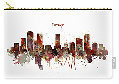 Carry-all Pouch featuring the mixed media Denver Skyline Silhouette by Marian Voicu