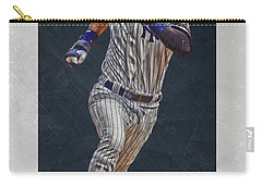 Derek Jeter New York Yankees Art 3 Carry-all Pouch by Joe Hamilton
