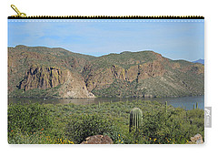 Carry-all Pouch featuring the digital art Desert Flora Over Canyon Lake by Lynda Lehmann