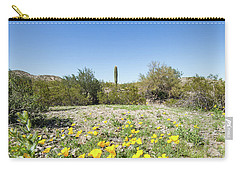 Desert Flowers And Cactus Carry-all Pouch by Ed Cilley