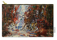 Carry-all Pouch featuring the painting Desert Oasis Waterfall by Reed Novotny