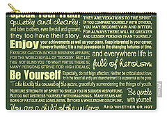 Desiderata - Green Vertical Carry-all Pouch by Ginny Gaura