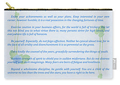 Desiderata In Blue Carry-all Pouch by Olga Hamilton