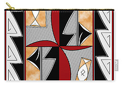 Southwest Collection - Design One In Red Carry-all Pouch