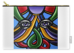 Carry-all Pouch featuring the painting Colorful Contemporary Canvas Painting, Eyeball Artwork, Colorful Modern Art                       by Ai P Nilson