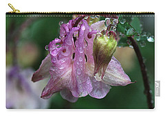 Carry-all Pouch featuring the photograph Dewey Morning Columbine by Susan Capuano