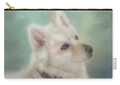 Carry-all Pouch featuring the mixed media Diamond, The White Shepherd by Colleen Taylor