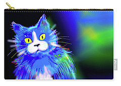 Carry-all Pouch featuring the painting Diego Blue Dizzycat by DC Langer