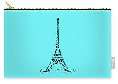 Digital-art Eiffel Tower Carry-all Pouch by Melanie Viola