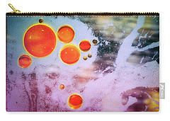Carry-all Pouch featuring the photograph Digital Virus Orange One Bubbles by John Williams