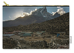 Carry-all Pouch featuring the photograph Dingboche Evening Sunrays by Mike Reid