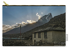 Carry-all Pouch featuring the photograph Dingboche Nepal Sunrays by Mike Reid