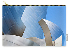 Carry-all Pouch featuring the photograph Disney Hall In Blue And Silver by Lorraine Devon Wilke