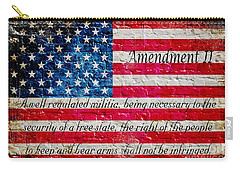 Distressed American Flag And Second Amendment On White Bricks Wall Carry-all Pouch