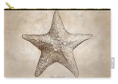 Carry-all Pouch featuring the drawing Distressed Antique Nautical Starfish by Karen Whitworth