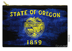Distressed Oregon Flag On Black Carry-all Pouch by Jon Neidert