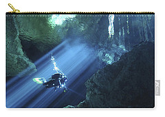 Diver Silhouetted In Sunrays Of Cenote Carry-all Pouch by Karen Doody