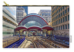 Dlr Canary Wharf And Approaching Train Carry-all Pouch