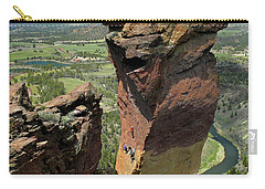 Carry-all Pouch featuring the photograph Dm5314 Climbers On Monkey Face Rock Or by Ed Cooper Photography