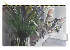 Do You See Me? Pet Portrait In Watercolor .modern Cat Art With Flowers  Carry-all Pouch
