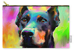 Doberman Pincher Dog Portrait Carry-all Pouch by Svetlana Novikova