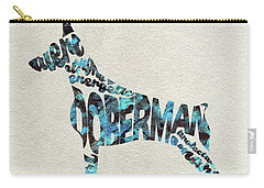 Carry-all Pouch featuring the painting Doberman Pinscher Watercolor Painting / Typographic Art by Ayse and Deniz