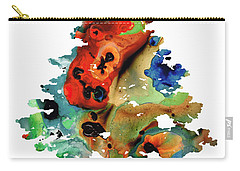 Carry-all Pouch featuring the painting Dog Art - Contemplation 2 - By Sharon Cummings  by Sharon Cummings