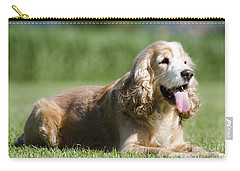 Dog Lying Down On The Green Grass Carry-all Pouch