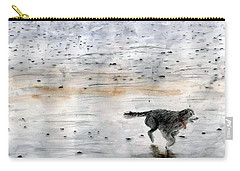 Dog On Beach Carry-all Pouch by Chriss Pagani