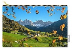 Dolomites Mountain Village In Autumn In Italy Carry-all Pouch by IPics Photography