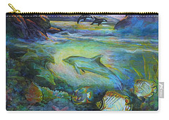 Carry-all Pouch featuring the painting Dolphin Fantasy by Denise Fulmer