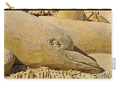 Dolphin Sand Castle Sculpture On The Beach 799 Carry-all Pouch
