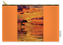 Carry-all Pouch featuring the digital art Dolphin Silhouette Sunset By Kaye Menner by Kaye Menner