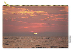 Dolphin Swims At Sunrise Carry-all Pouch by Robert Banach