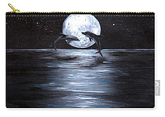 Dolphins Dancing Full Moon Carry-all Pouch by Bernadette Krupa