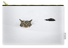 Domestic Cat Felis Catus In Deep Snow Carry-all Pouch