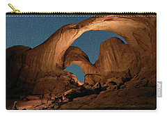 Carry-all Pouch featuring the photograph Double Arch And The Milky Way - Arches National Park - Moab, Utah. by OLena Art Brand