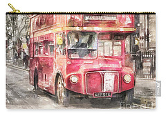 Double-decker Red Bus Of London Carry-all Pouch by Shirley Stalter