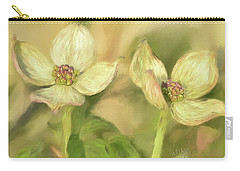 Carry-all Pouch featuring the digital art Double Dogwood Blossoms In Evening Light by Lois Bryan