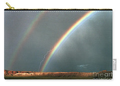 Double Rainbow And Lightning-signed Carry-all Pouch