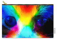 Carry-all Pouch featuring the painting Double Rainbow Cat by David Lee Thompson