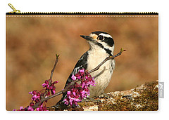 Downy Woodpecker In Spring Carry-all Pouch by Sheila Brown