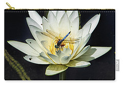 Carry-all Pouch featuring the photograph Dragon Fly On Lily by John Rivera