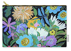 Carry-all Pouch featuring the painting Dragonfly And Flowers by Robin Maria Pedrero