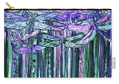 Carry-all Pouch featuring the mixed media Dragonfly Bloomies 1 - Lavender Teal by Carol Cavalaris