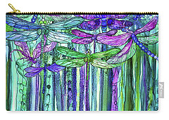 Carry-all Pouch featuring the mixed media Dragonfly Bloomies 1 - Purple by Carol Cavalaris